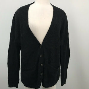 Madewell Ribbed Black Buttoned Cardigan Wool Blend